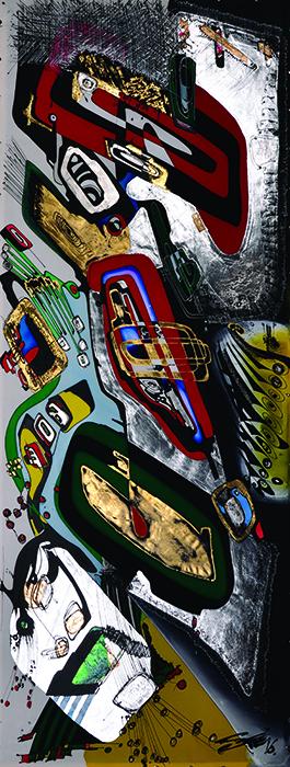 StefanTodorov-painting on silk canvas_50x150cm